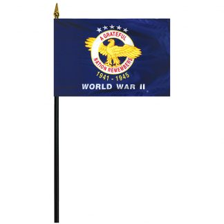 "438850 World War II 4'' x 6"" Stick Mounted Rayon Flag-0"