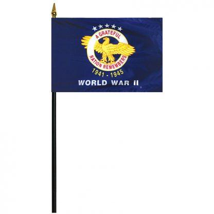 "438850 World War II 4'' x 6"" Stick Mounted Rayon Flag-0"