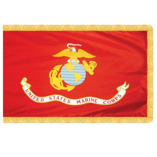 AFF-604 Marine Corps 3' x 5' Nylon With Pole Sleeve And Fringe -0