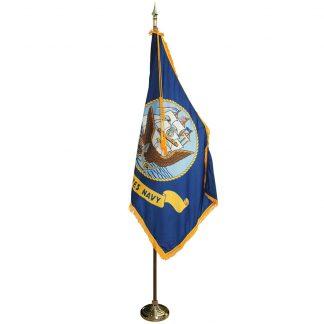 MPS-102 7' Pole / 3' x 5' Flag - Navy Indoor Presentation Set-0