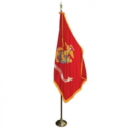 MPS-104 7' Pole/ 3' x 5' Flag- Marine Corps Indoor Presentation Set -0
