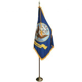 MPS-202 8' Pole/ 3' x 5' Flag- Navy Indoor Presentation Set -0