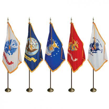 MPS-206 8' Pole/ 3' x 5' Flag- Military Indoor Presentation Set -0