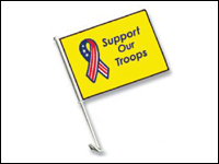 "CAR-SUPPORT 11"" X 16"" Support Our Troops Economy Car Flag-0"