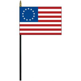 "BR-01 Betsy Ross 4"" x 6"" Staff-mounted Rayon Stick Flag-0"