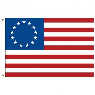 BR-03 Betsy Ross 2' x 3' Outdoor Nylon Sewn & Embroidered - Heading And Grommets-0