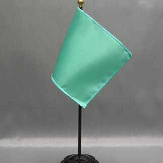 "NMF-46 AQUA Nylon 4"" x 6"" Mounted Solid Color Stick Flag - Aqua-0"