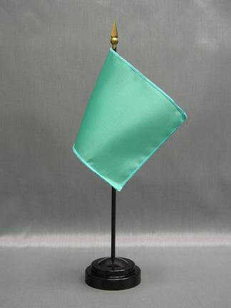 """NMF-46 AQUA Nylon 4"""" x 6"""" Mounted Solid Color Stick Flag - Aqua-0"""