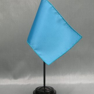 "NMF-46 BELLBLUE Nylon 4"" x 6"" Mounted Solid Color Stick Flag - Bell Blue-0"