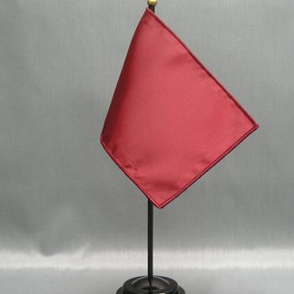 "NMF-46 BRICKRED Nylon 4"" x 6"" Mounted Solid Color Stick Flag - Brick Red-0"