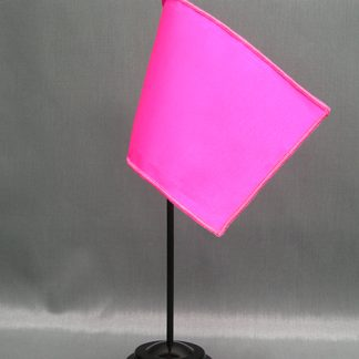 "NMF-46 BRIGHTPINK Nylon 4"" x 6"" Mounted Solid Color Stick Flag - Bright Pink-0"