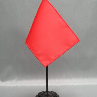 "NMF-46 BRIGHTRED Nylon 4"" x 6"" Mounted Solid Color Stick Flag - Bright Red-0"