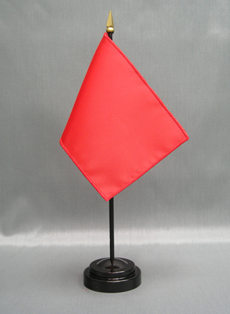 """NMF-46 BRIGHTRED Nylon 4"""" x 6"""" Mounted Solid Color Stick Flag - Bright Red-0"""