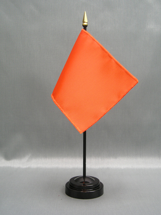 "NMF-46 BURNTORANG Nylon 4"" x 6"" Mounted Solid Color Stick Flag - Burnt Orange-0"