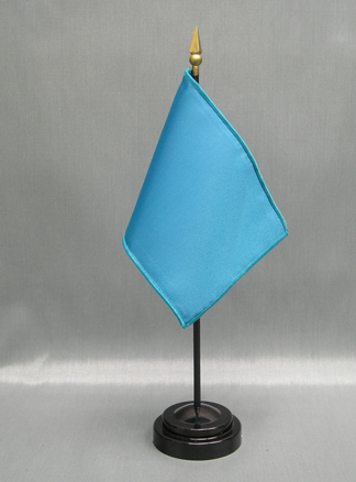 "NMF-46 DARBLUE Nylon 4"" x 6"" Mounted Solid Color Stick Flag - DAR Blue-0"