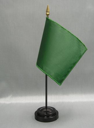 "NMF-46 DARTGREEN Nylon 4"" x 6"" Mounted Solid Color Stick Flag - Dart Green-0"