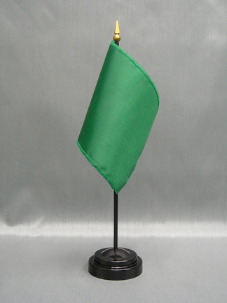 "NMF-46 EMERALD Nylon 4"" x 6"" Mounted Solid Color Stick Flag - Emerald-0"