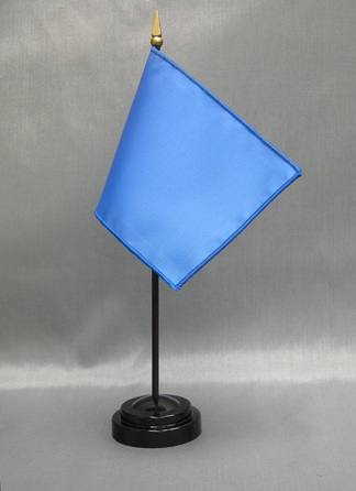 """NMF-46 FRENCHBLUE Nylon 4"""" x 6"""" Mounted Solid Color Stick Flag - French Blue-0"""