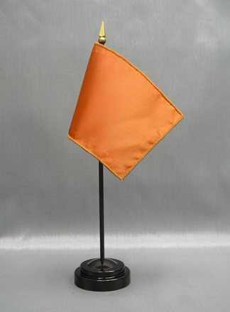 "NMF-46 GOLDBROWN Nylon 4"" x 6"" Mounted Solid Color Stick Flag - Gold Brown-0"