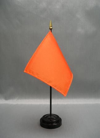"NMF-46 INTLORANGE Nylon 4"" x 6"" Mounted Solid Color Stick Flag - Intl Orange-0"