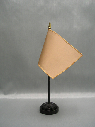 """NMF-46 KHAKI Nylon 4"""" x 6"""" Mounted Solid Color Stick Flag - Khaki-0"""