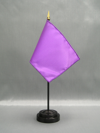 "NMF-46 LAVENDER Nylon 4"" x 6"" Mounted Solid Color Stick Flag - Lavender-0"