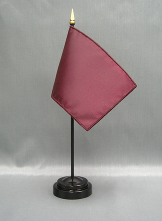 """NMF-46 MAROON Nylon 4"""" x 6"""" Mounted Solid Color Stick Flag - Maroon-0"""