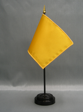 """NMF-46 MUSTARD Nylon 4"""" x 6"""" Mounted Solid Color Stick Flag - Mustard-0"""