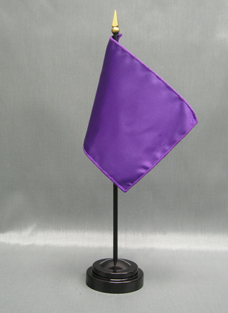 """NMF-46 PANSY Nylon 4"""" x 6"""" Mounted Solid Color Stick Flag - Pansy-0"""