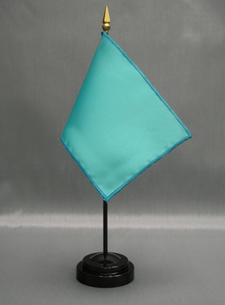 "NMF-46 PARROTBLUE Nylon 4"" x 6"" Mounted Solid Color Stick Flag - Parrot Blue-0"
