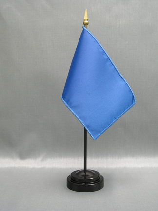 "NMF-46 PEACOCKBLU Nylon 4"" x 6"" Mounted Solid Color Stick Flag - Peacock Blue-0"
