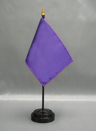 "NMF-46 PURPLE Nylon 4"" x 6"" Mounted Solid Color Stick Flag - Purple-0"