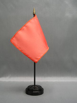 "NMF-46 SALMON - Nylon 4"" x 6"" Mounted Solid Color Stick Flag - Salmon-0"