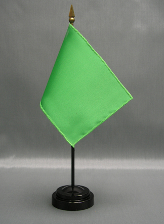 "NMF-46 SCARABGREE Nylon 4"" x 6"" Mounted Solid Color Stick Flag - Scarab Green-0"