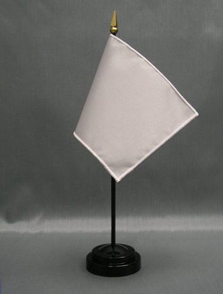 "NMF-46 SILVER Nylon 4"" x 6"" Mounted Solid Color Stick Flag - Silver-0"