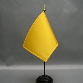 "NMF-46 SPANISHYEL Nylon 4"" x 6"" Mounted Solid Color Stick Flag - Spanish Yellow-0"