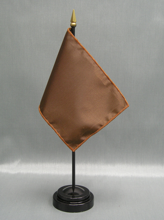 "NMF-46 SPICEBROWN Nylon 4"" x 6"" Mounted Solid Color Stick Flag - Spice Brown-0"