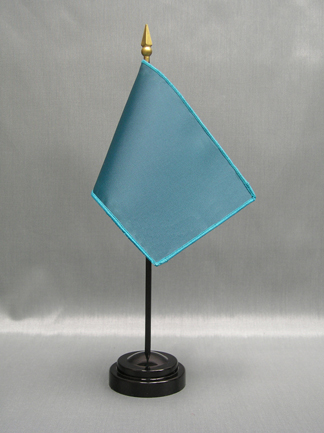 "NMF-46 TEAL Nylon 4"" x 6"" Mounted Solid Color Stick Flag - Teal-0"