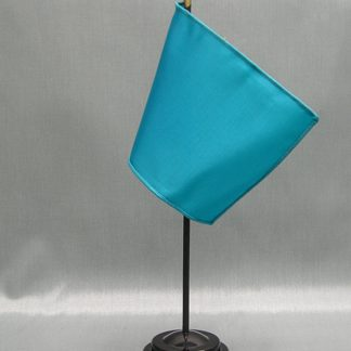 "NMF-46 TURQUOISE Nylon 4"" x 6"" Mounted Solid Color Stick Flag - Turquoise-0"