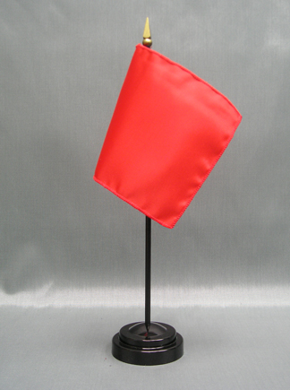 """NMF-46 WARMRED Nylon 4"""" x 6"""" Mounted Solid Color Stick Flag - Warm Red-0"""