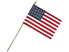Lightweight Cotton U.S. Stick Flags With Spear Top