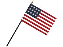 Deluxe Polyester U.S. Stick Flags With Spear Top