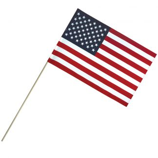 "EC-1218 12"" x 18"" Economy Cotton U.S. Stick Flag On 30"" Dowel-0"