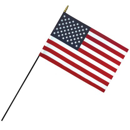 """RSF-1218 12"""" x 18"""" Deluxe Polyester U.S. Stick Flag On 3/16"""" Diameter Black Dowel-0"""