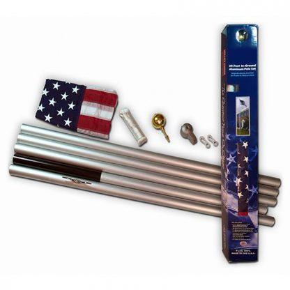 AFP-25F 25' Silver Aluminum Pole - With Flag-42120
