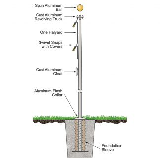 CAF-20-SATIN 20' Atlas Commercial Pole External Halyard and Satin Finish-0
