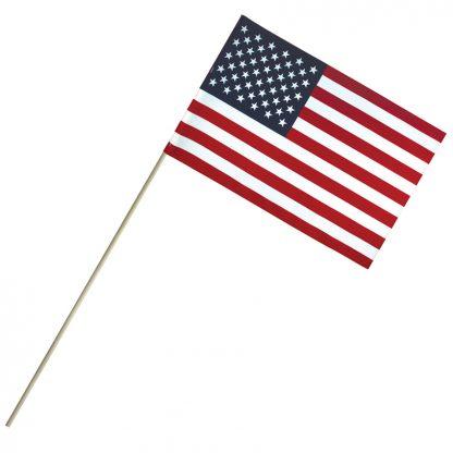 "EC-812 8'' X 12"" Economy Cotton U.S. Stick Flag On 24"" Dowel-0"
