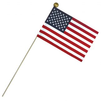 "ECB-812 8'' X 12"" Economy Cotton U.S. Stick Flag On 24"" Wooden Dowel-0"
