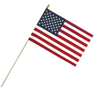 "ECS-1218 12"" x 18"" Economy Cotton US Stick Flag with Spear Top on a 30"" Dowel-0"
