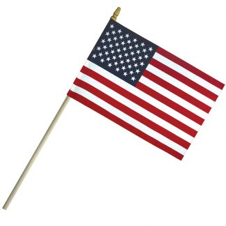 "ECS-46 4"" x 6"" Economy Cotton US Stick Flag with Spear Top on a 10"" Dowel-0"